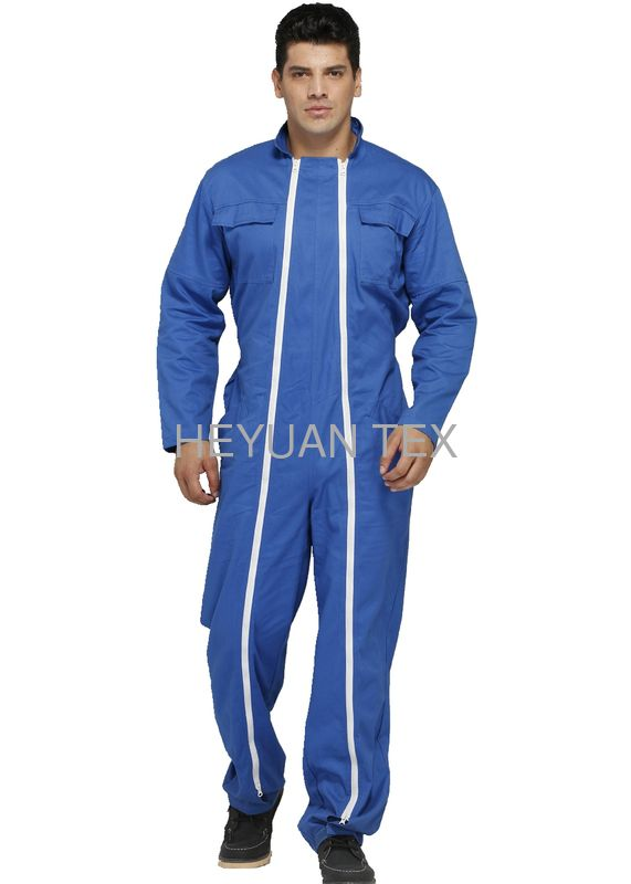 Blue Double Zipper Mens Heavy Duty Overalls Comfortable With Velcro Ankle